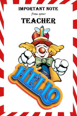 Clown Note from your Teacher Postcards